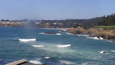 Sweeping views of Mendocino Bay from the Pacifica Suite deck