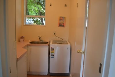 laundry and second entry to bathroom