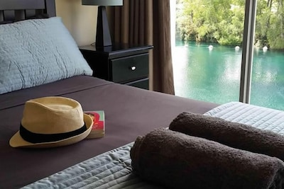 Master bedroom with spectacular river views