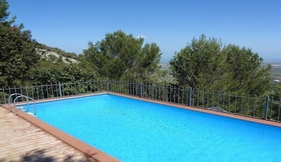 Private heated pool in secluded position with amazing sea views