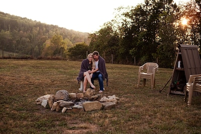 Cool private evenings at the fire pit, reconnect with romantic surroundings.