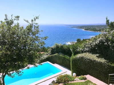 The private pool and stunning sea views