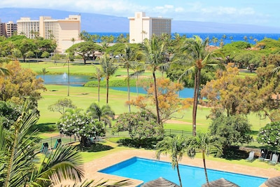 Views from condo, Resort Pool, Golf Course, Whalers Village, Ocean Views