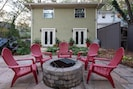 Guests enjoy time around the fire pit all year long.
