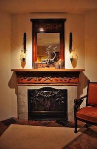 Romantic hand carved mahogany fireplance