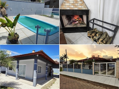 Casa com piscina e Lareira a 200 metros da praia!