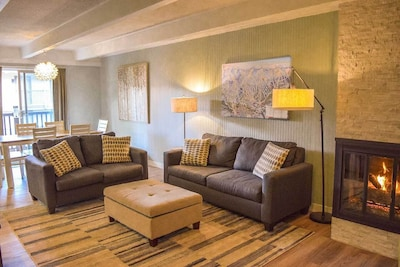 Family and friends can gather in the spacious living area