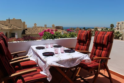 The terrace with sea views, on good days you see Africa!