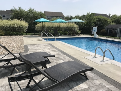 Salt water heated swimming pool