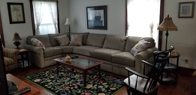 Living room with full size sofabed