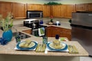 A closer look at the kitchen with everything you like to have. All utensils, plates, pots, glasses are provided.