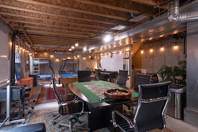 Lower level of the house is a spacious 1000+ square foot game room. Let's party!