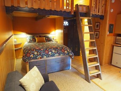 The queen bed is a super comfy sleep comfort bed