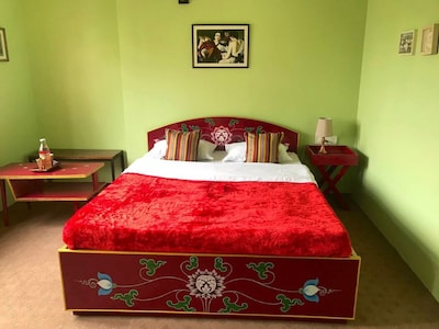 The bedroom - all the beds are hand painted