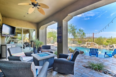 Whether you want to swim, watch TV, or just lounge around, the backyard awaits.