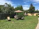 Yard, patio furniture, gas grill