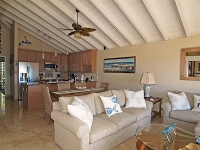 Custom open layout with full size kitchen, open to the living rm. and ocean view