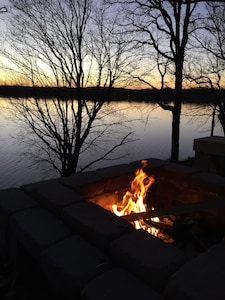 Fire pit overlooking the lake.