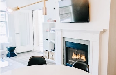 Stay warm and toasty by the gas fireplace