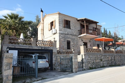 Family traditional stone villa Anelina with magnificent valley and sea views .
