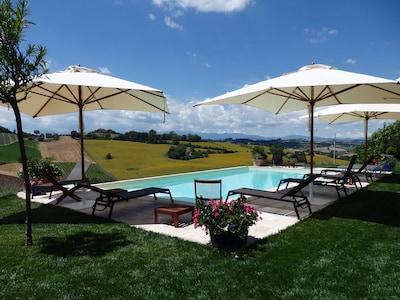 Pool mit Blick in Richtung Monte Sibbilini