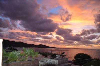 vue, couche de soleil