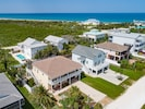 Aerial Drone Shot - An aerial view of the home steps from the beach.
