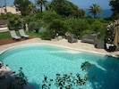 """View from """"table under the Olive tree."""" Swimming pool  area to petanque area."""