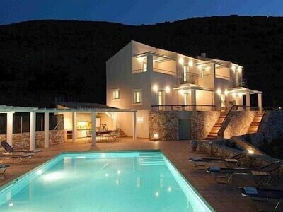 Night view of the Aloni Villas and heated pool