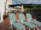 The terrace is fully furnished perfect for greeting each new day