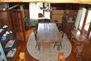 Farm table in dining area built here at Memory Mountain.  Seats 8.