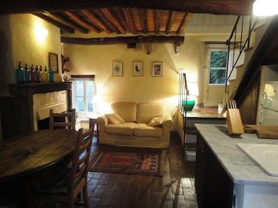 Detail of ground floor living area showing original terracotta floors and beams.