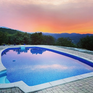 Pool at sunset, views to the sea, Canigou and Ceret