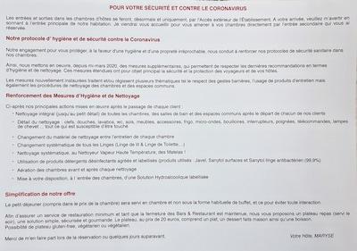 Protocole d'hygiène et de sécurité contre le coronavirus
