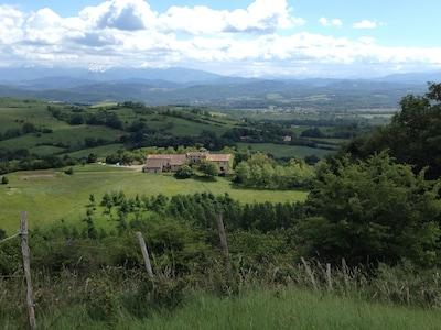 Domaine de Montagnac, looking south towards the Pyrenees