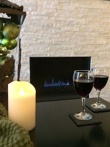 A weekend get-away in front of our cozy fireplace. Décor changed every season!