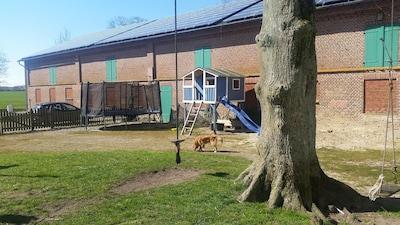 Riesentrampolin, Spielhaus, Sandkiste und Tarzanschaukeln auf unserem Hofplatz.