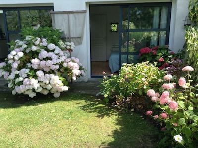 Le gîte et son jardin privatif d'Hydrangeas  , de rosiers et de vivaces