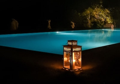 The new pool in the evening