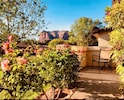 Charming front patio with red rock view