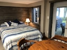 Comfortable queen, fabulous view of the lake from right in your bed!