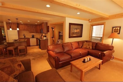 Leather Sectional w/ Queen Sofa Sleeper - Pine Beams Throughout