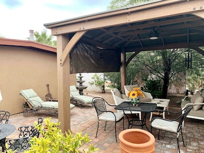 Enjoy outdoor Gazebo and lounge area during your stay in our home.
