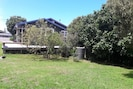 Large back lawn with fruit trees which provide good shade in the hot weather.