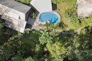 Left to right: Main House/Casa Bella, Pool and Pool Deck, Casita Bonita.