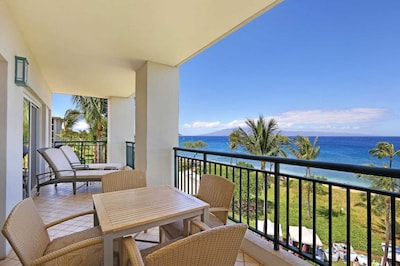 Main Lanai/Balcony.  The Island of Lanai is on display in the distance.
