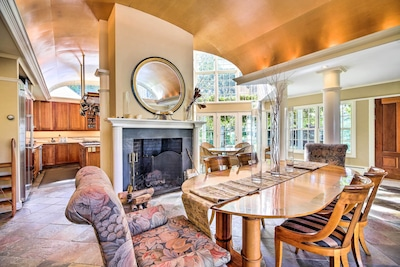 An elegant living space awaits after each adventure at this Brookfield home.