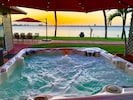 Our waterfront hot tub available 24/7