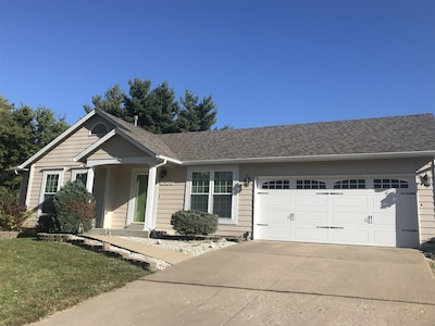 House front with 2 car garage