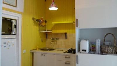 petite cuisine intégrée, bien équipée